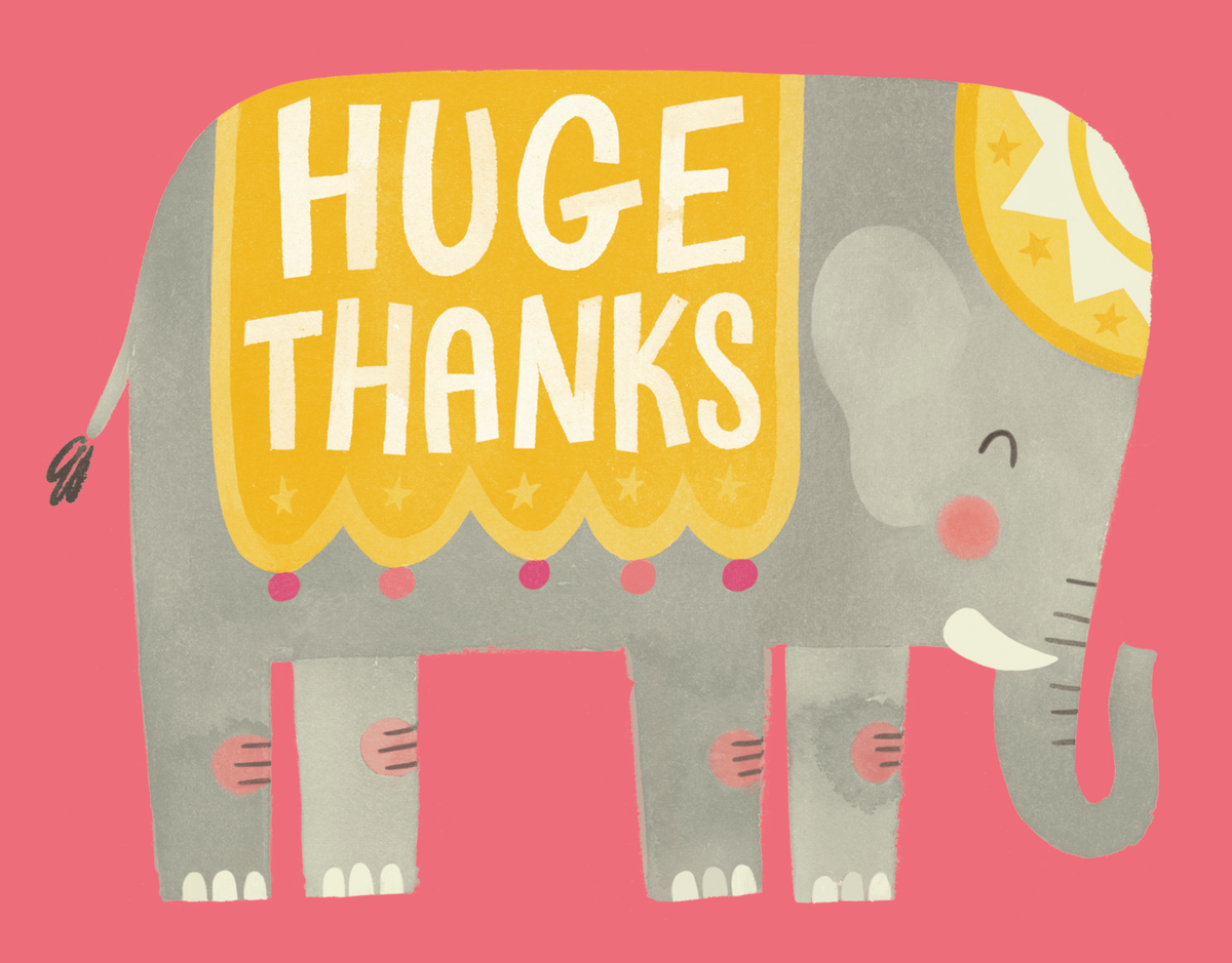 Watercolor Elephant Huge Thanks Greeting Card
