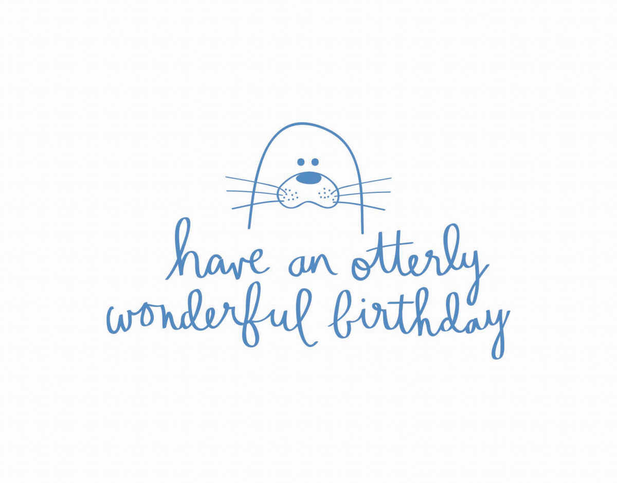 Adorable Pun Otter Birthday Card