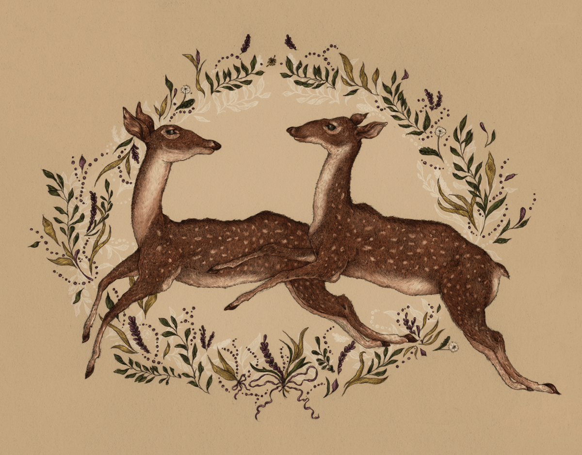 Vintage painted Jumping Deer everyday card