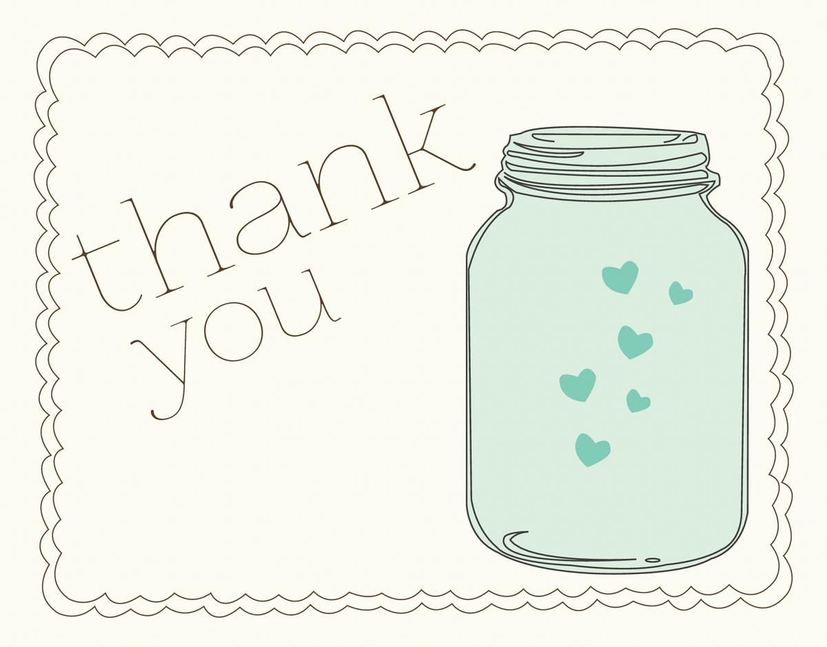 Thank You Card with Mason Jar and Hearts