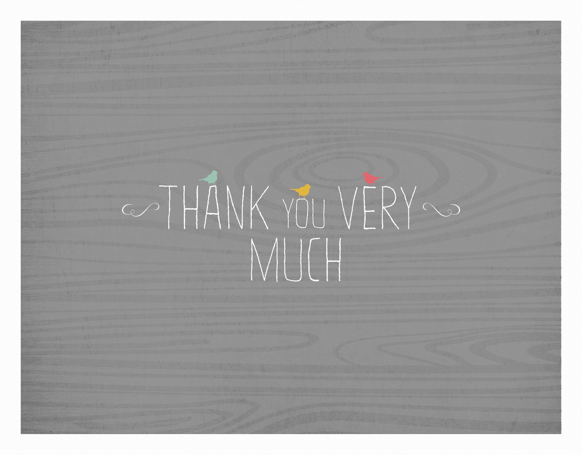 Simple Thank You Card with little birds