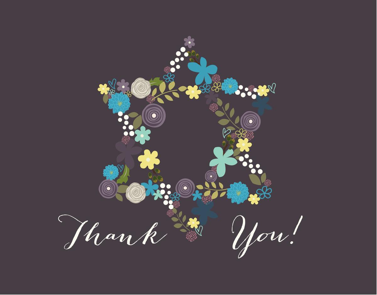 Floral Star of David Purple Bar Mitzvah Thank You Card
