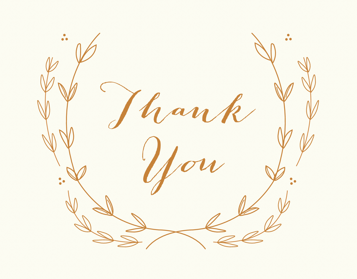 Elegant gold wreath script Thank You greeting