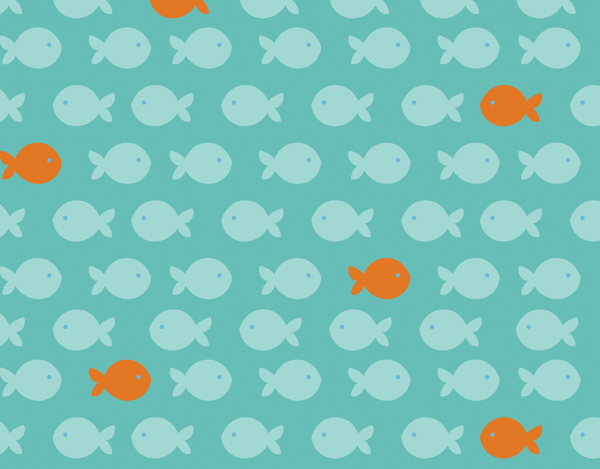 Turquoise and orange fish stationery
