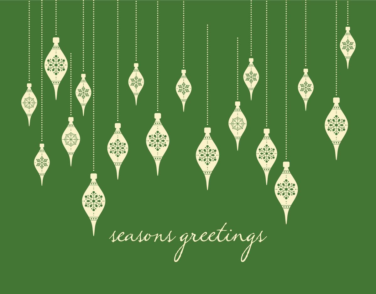 Elegant Green Ornaments Illustration Seasons Greetings