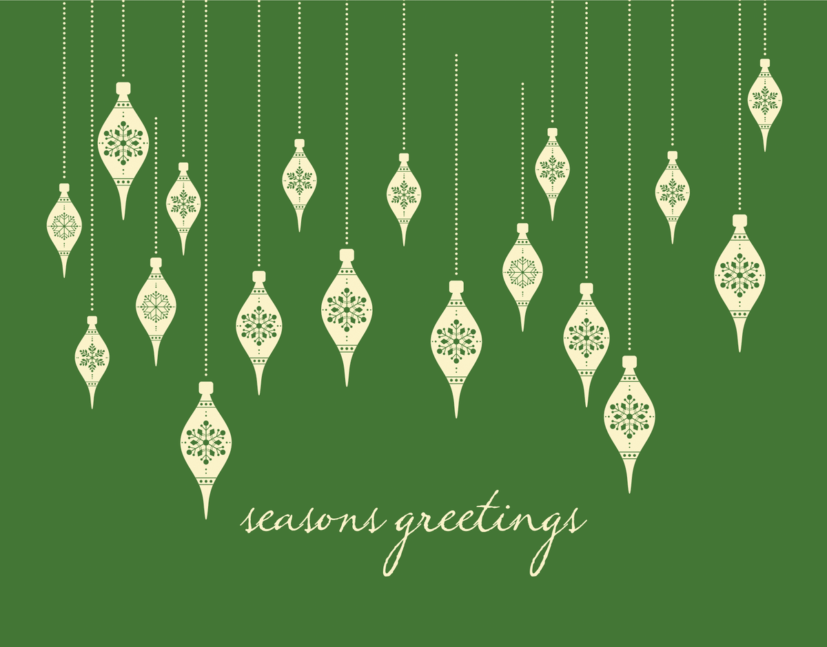 Elegant Green Ornaments Illustration Seasons Greetings