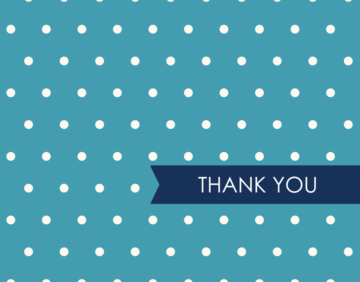 Vintage Blue Polka Dots Thank You Note