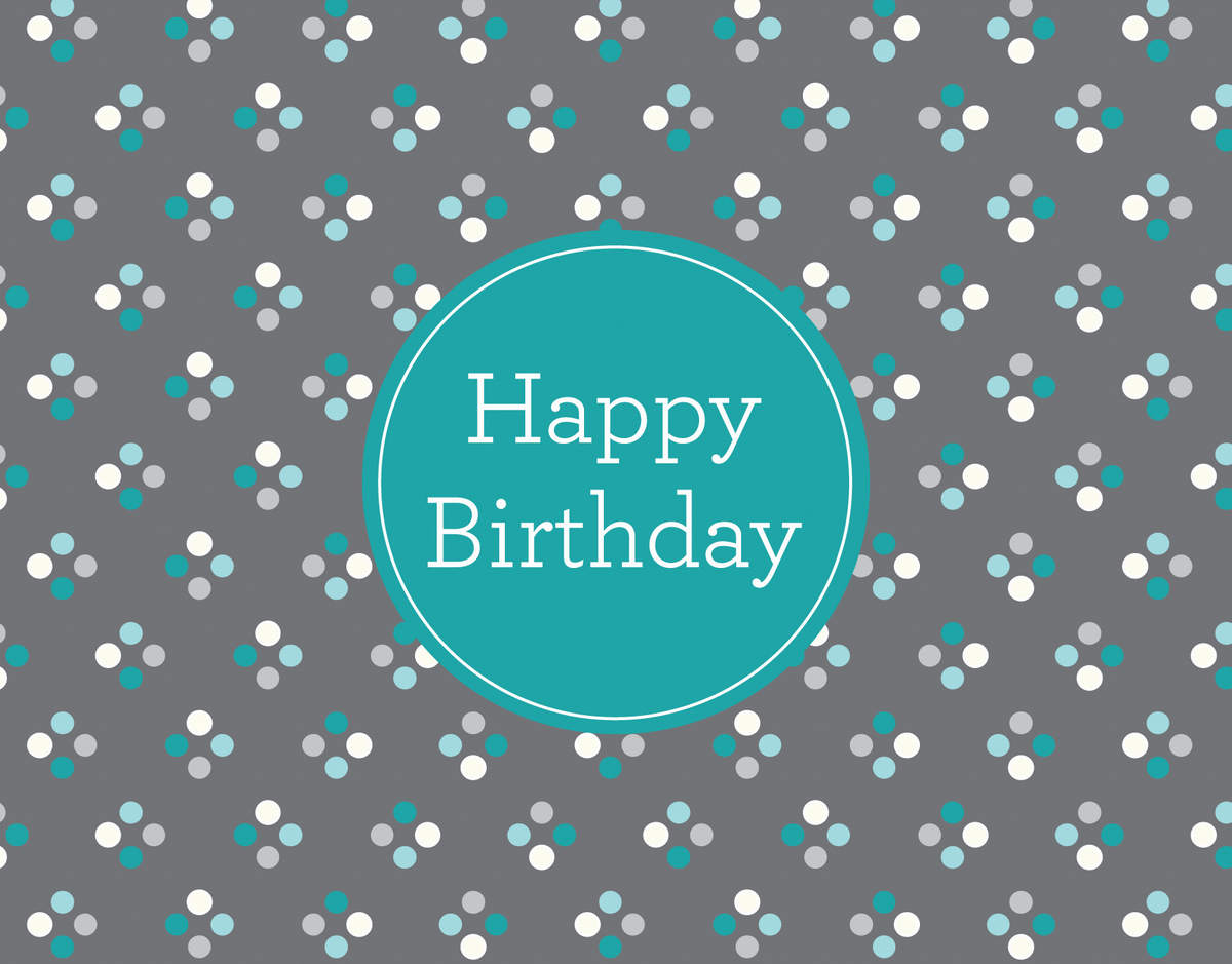 Classic blue polka dots Birthday Card
