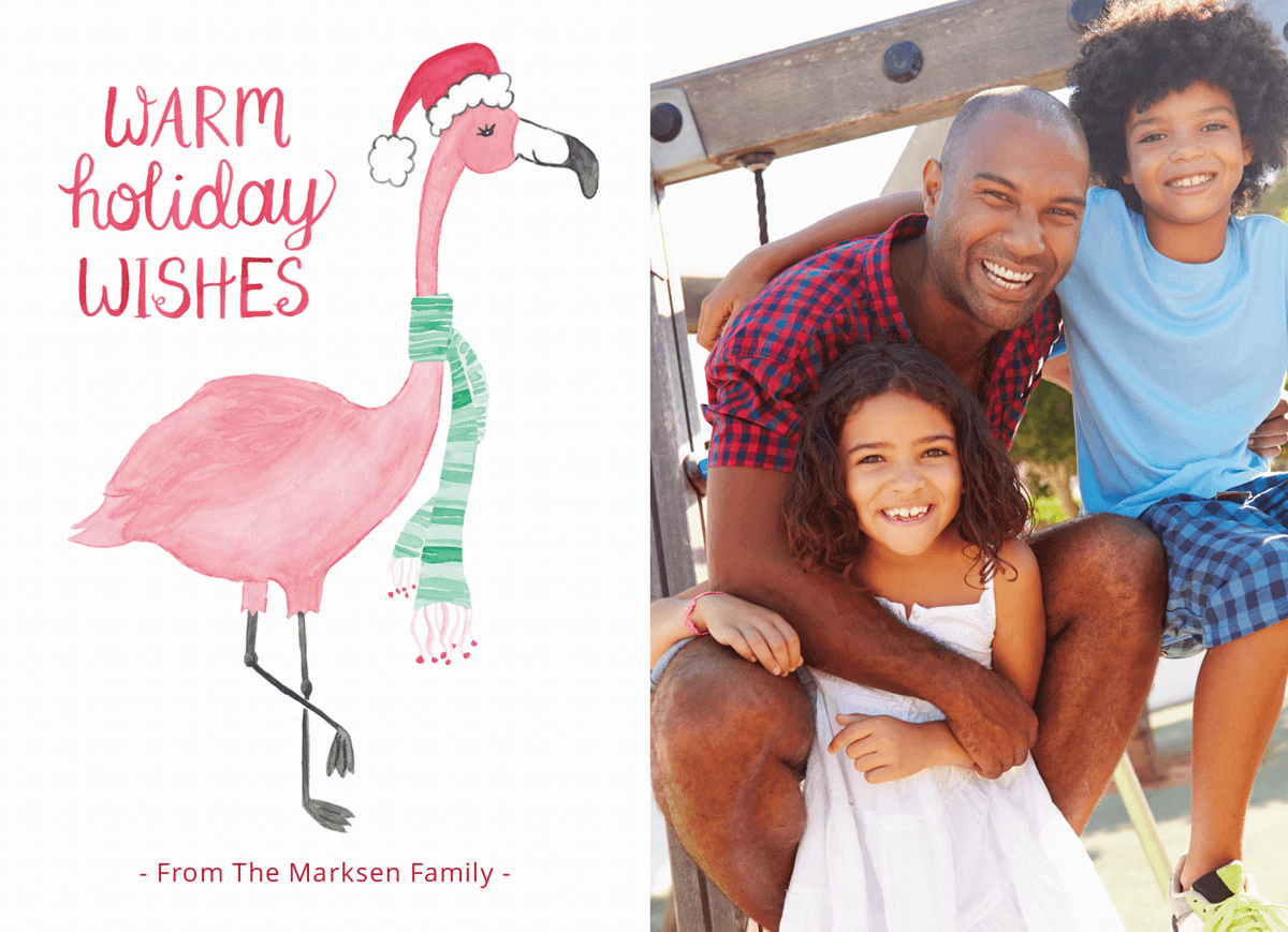warm holiday wishes watercolored holiday card with photo