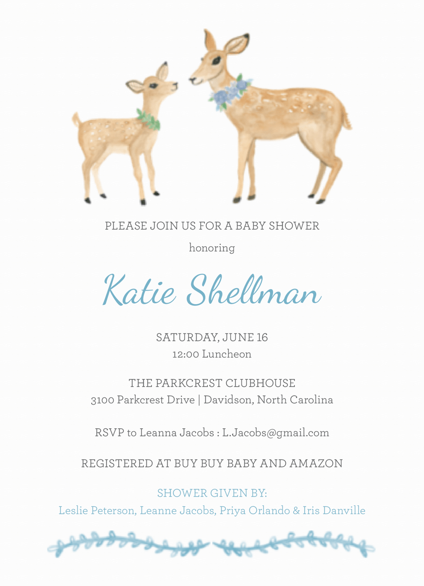 Baby Shower Deer Blue