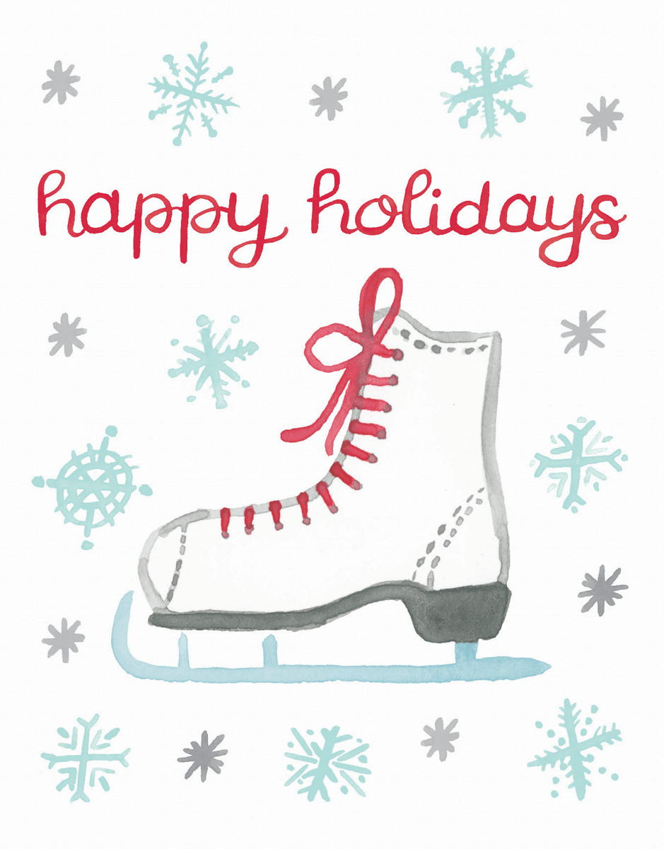 watercolored ice skate happy holidays card