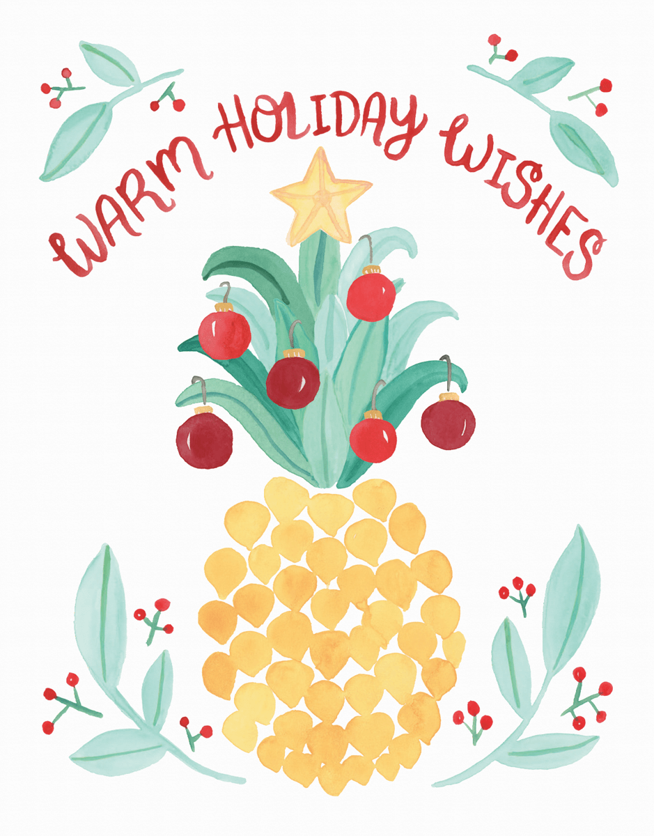 warm holiday wishes pineapple greeting card