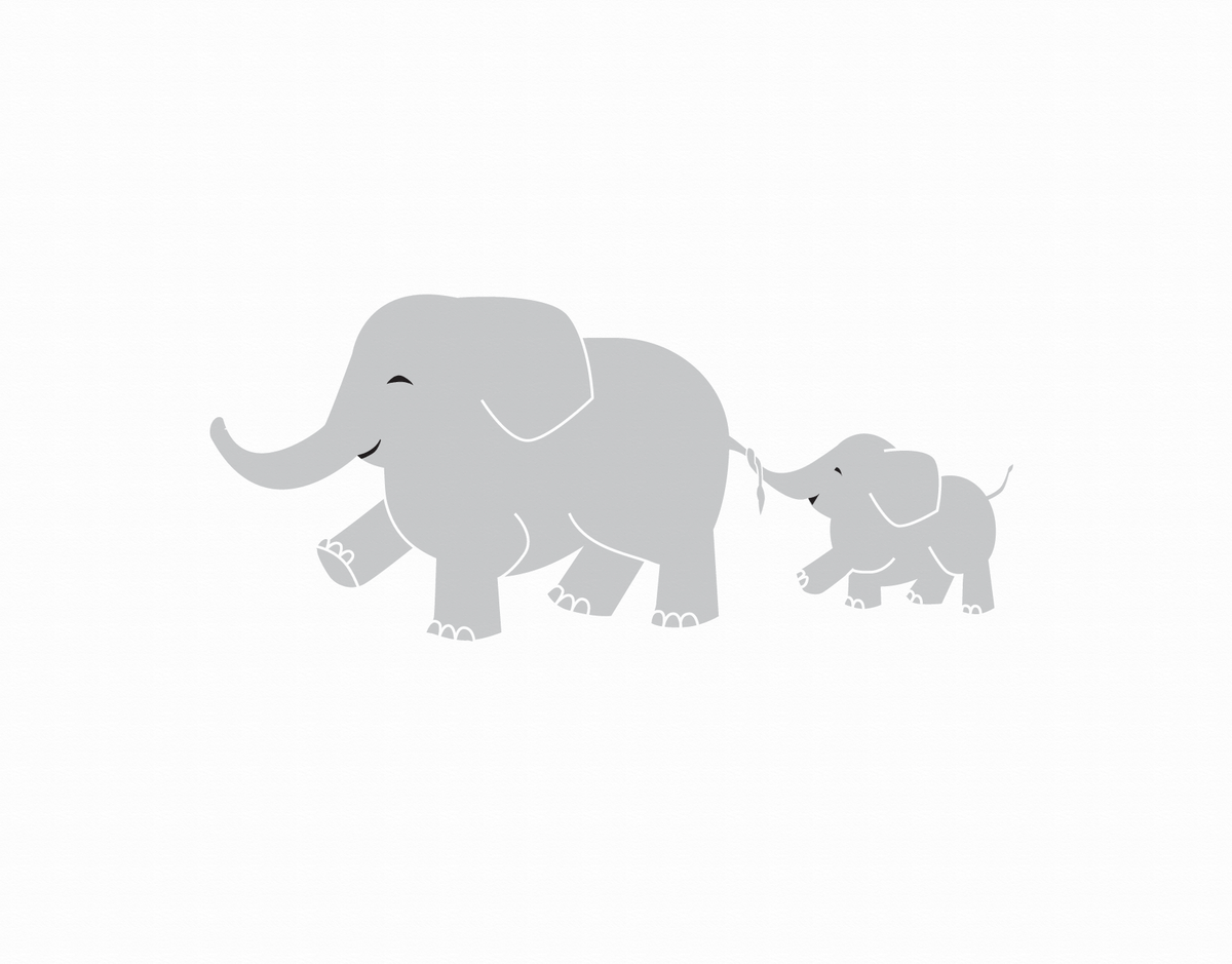 Mom and child elephant baby card