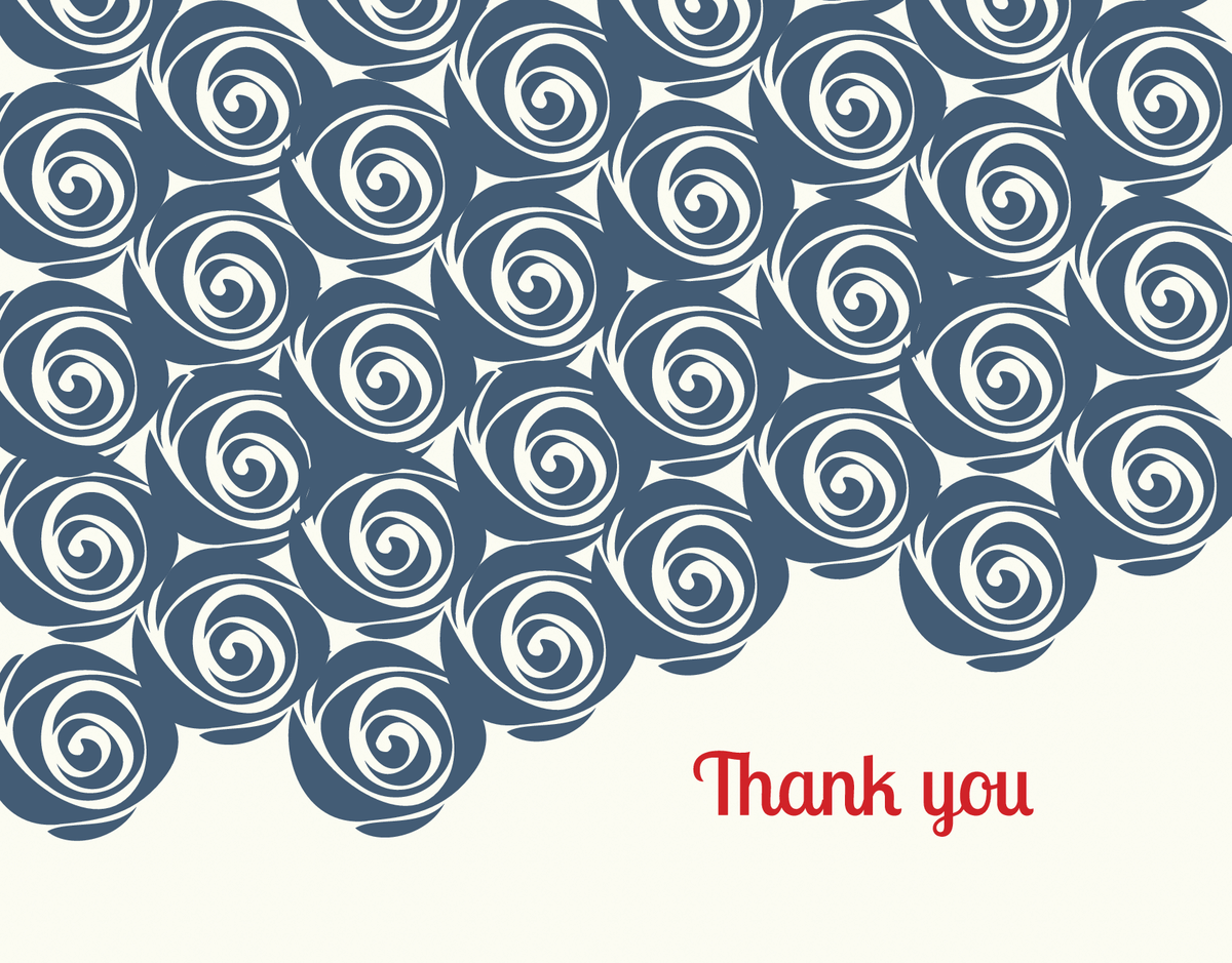 Blue Roses Illustration Thank You Note