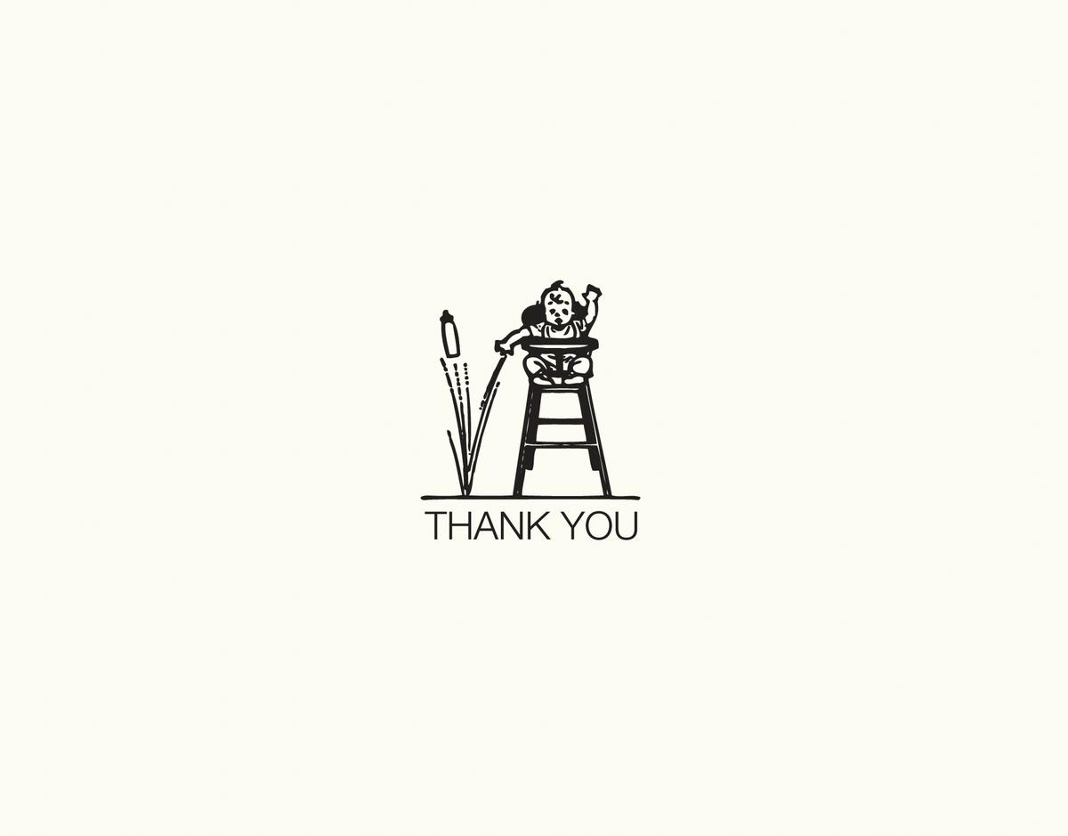 Minimal drawing baby thank you card