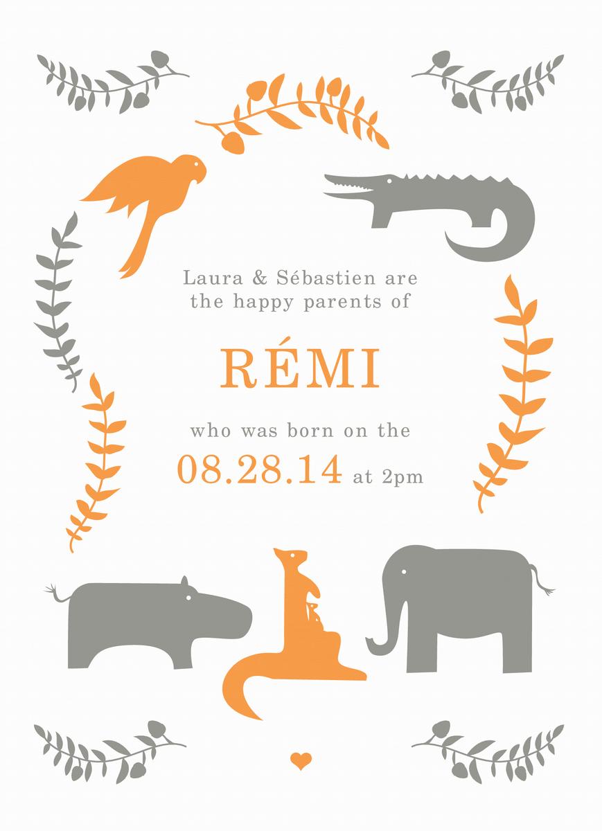 Orange Animals Birth Announcement
