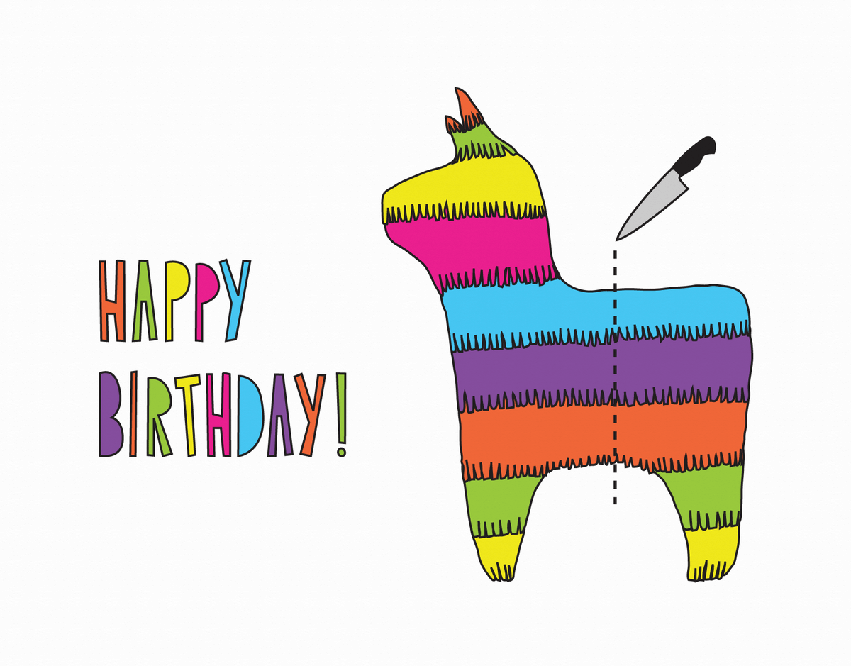 Funny Pinata Birthday Card