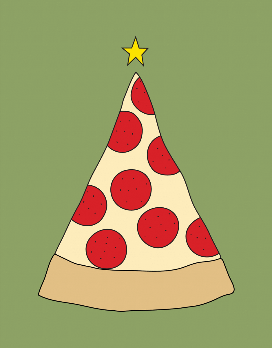 Colorful Pizza Christmas Card