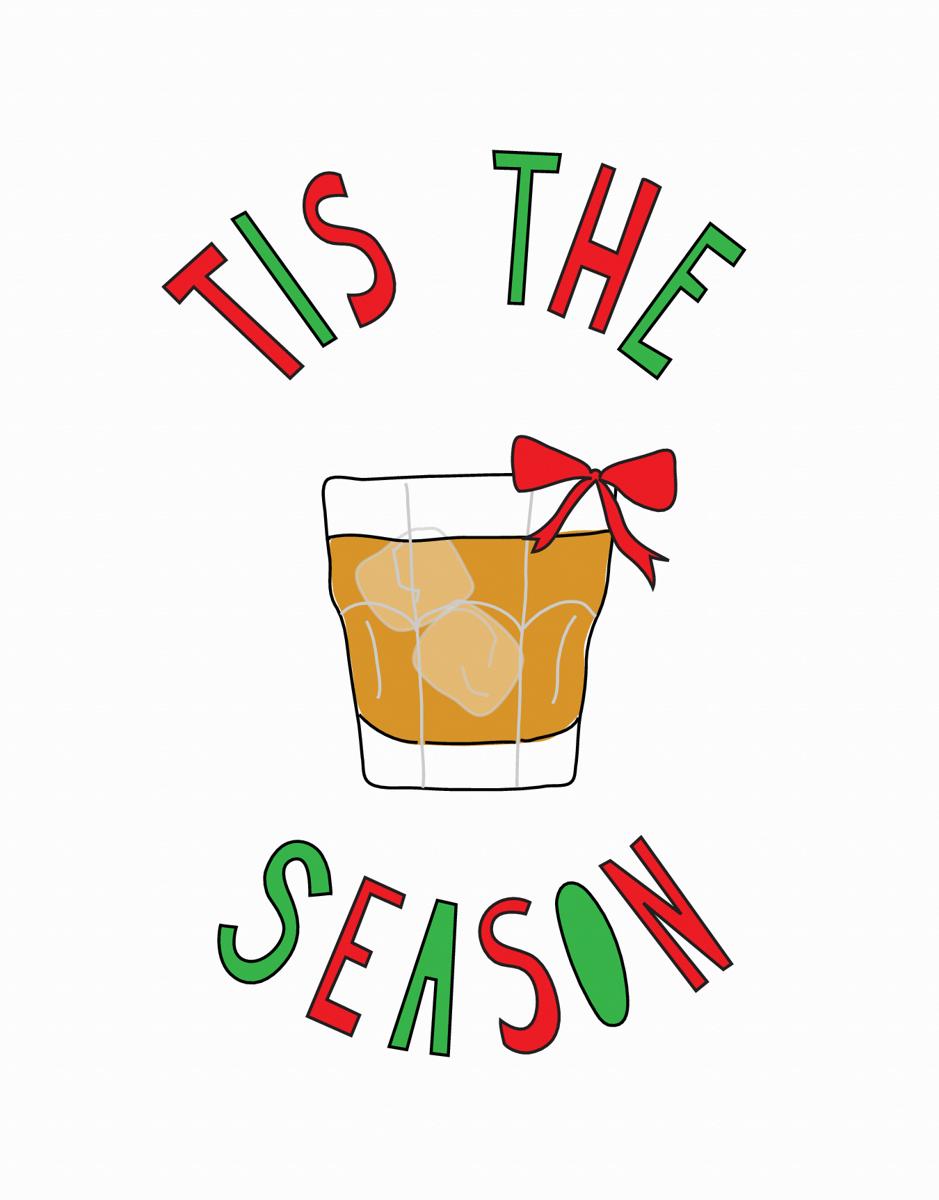 Colorful Alcohol Tis The Season Holiday Card