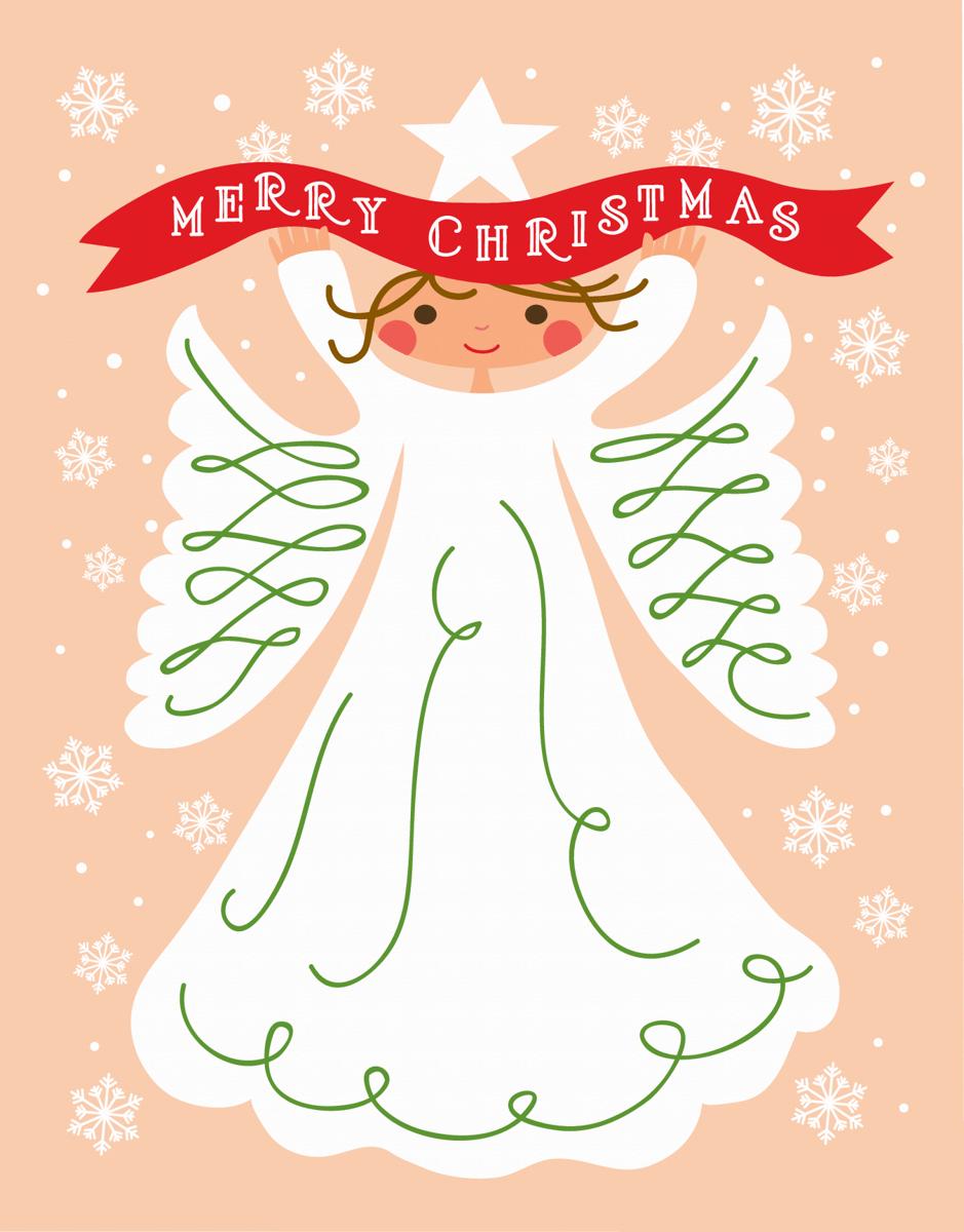 Pretty Angel Merry Christmas Card