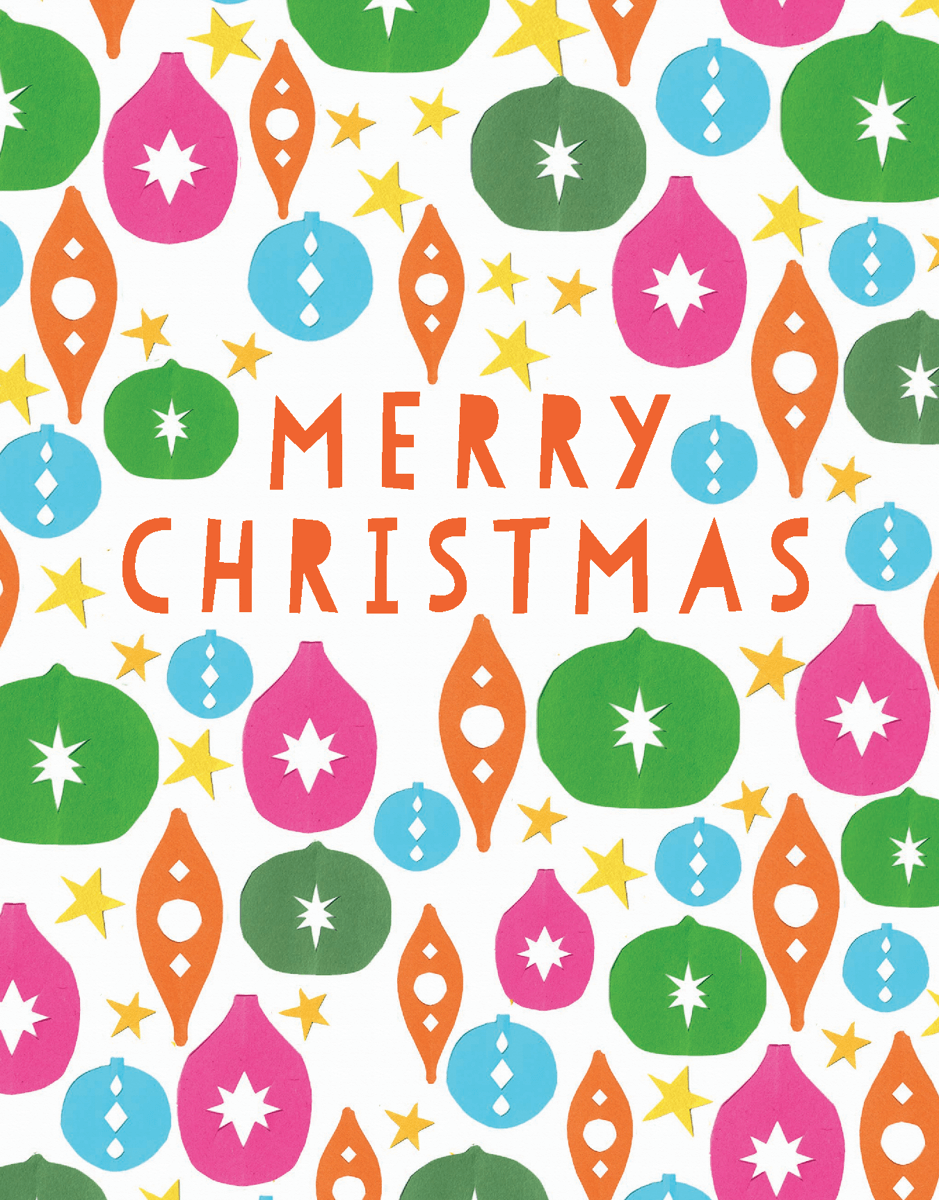 Bright Paper Ornaments Merry Christmas Card