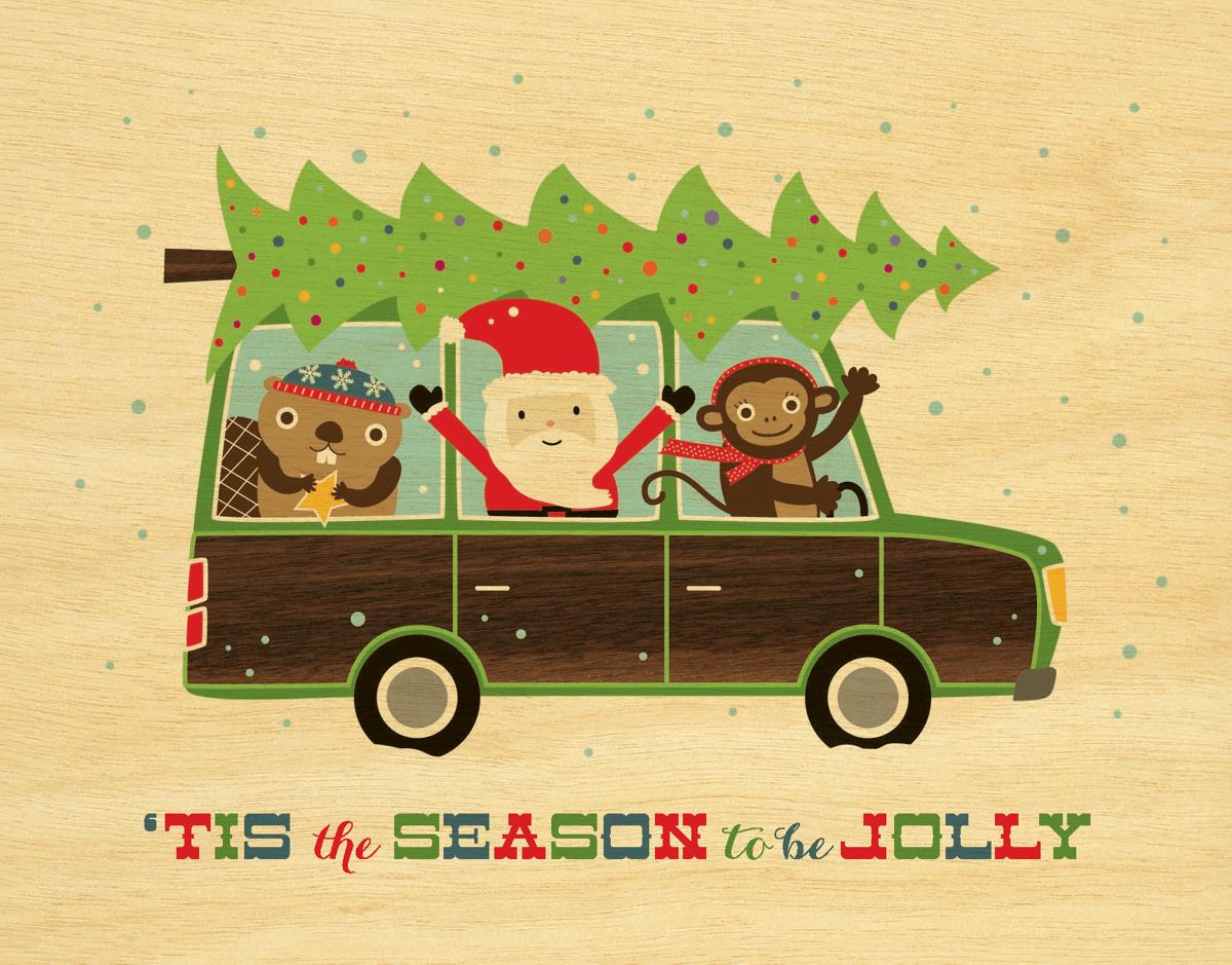 Vintage Santa and Christmas Tree Holiday Card