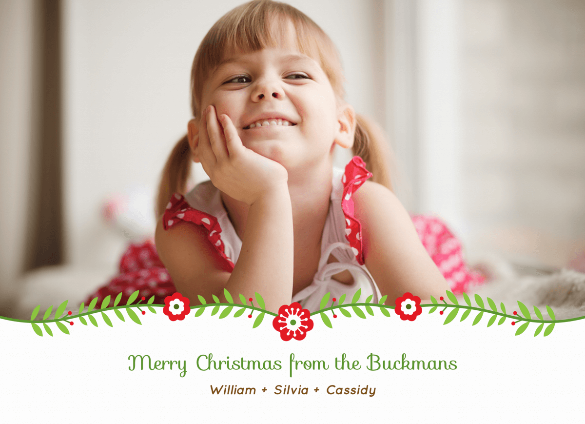 Simple Garland Family Photo Merry Christmas Card