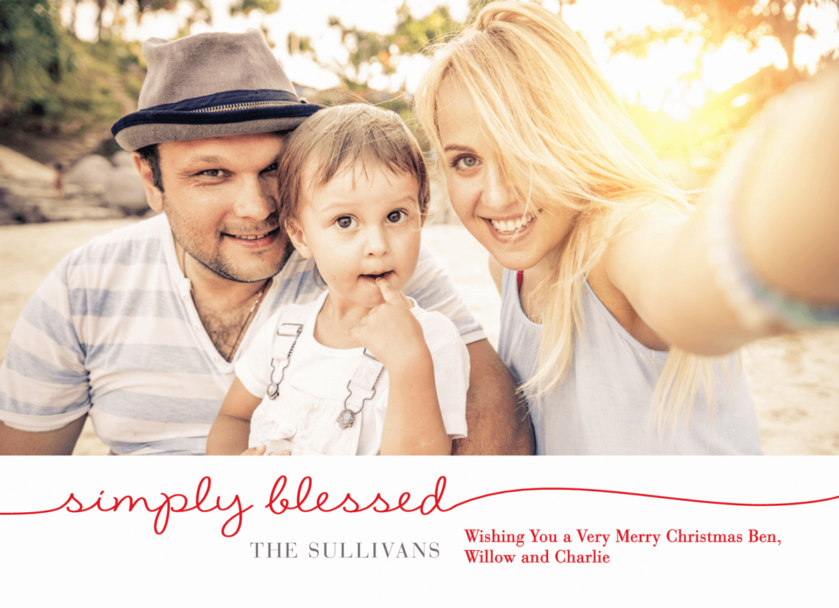 Simple Red Script Family Photo Christmas Card