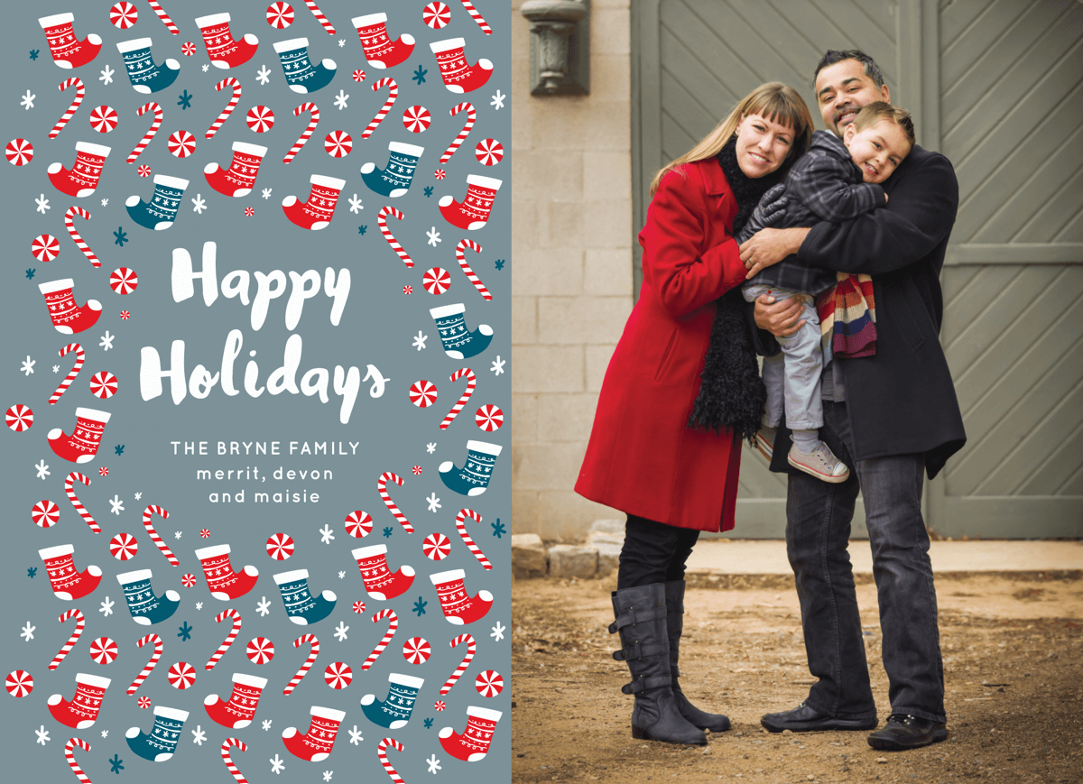 photo holiday card with colorful stockings