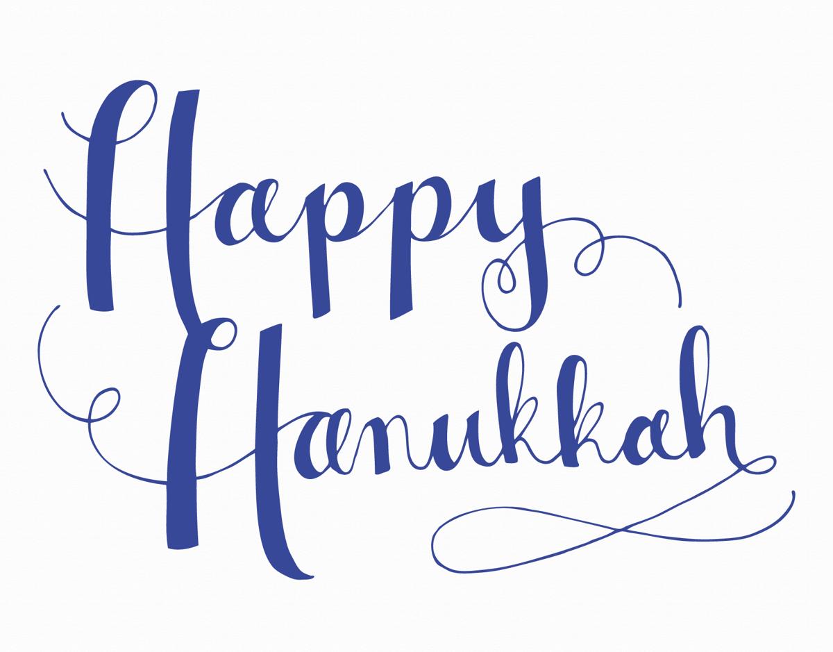 Blue Cursive Happy Hanukkah Card