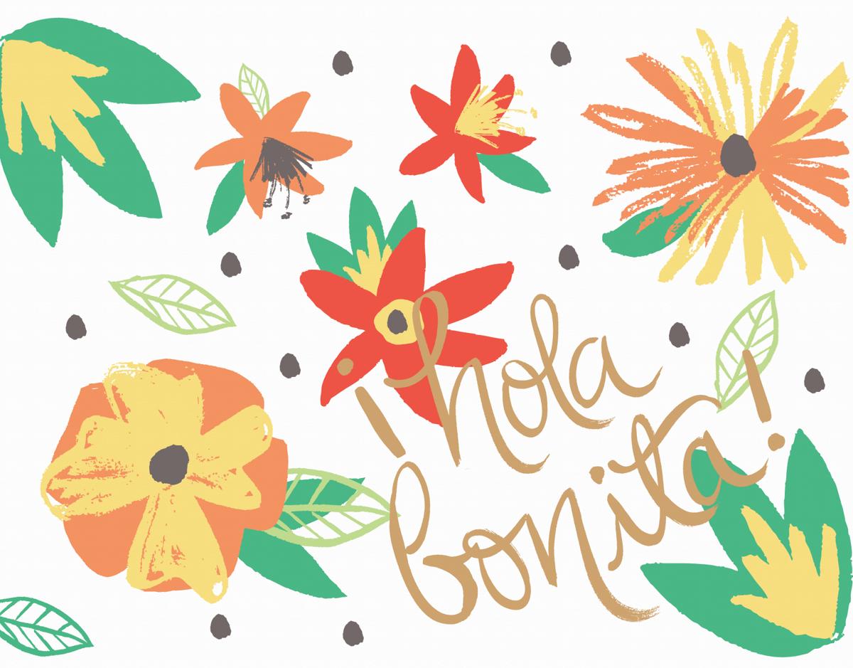 Tropical Hola Bonita Friend Card
