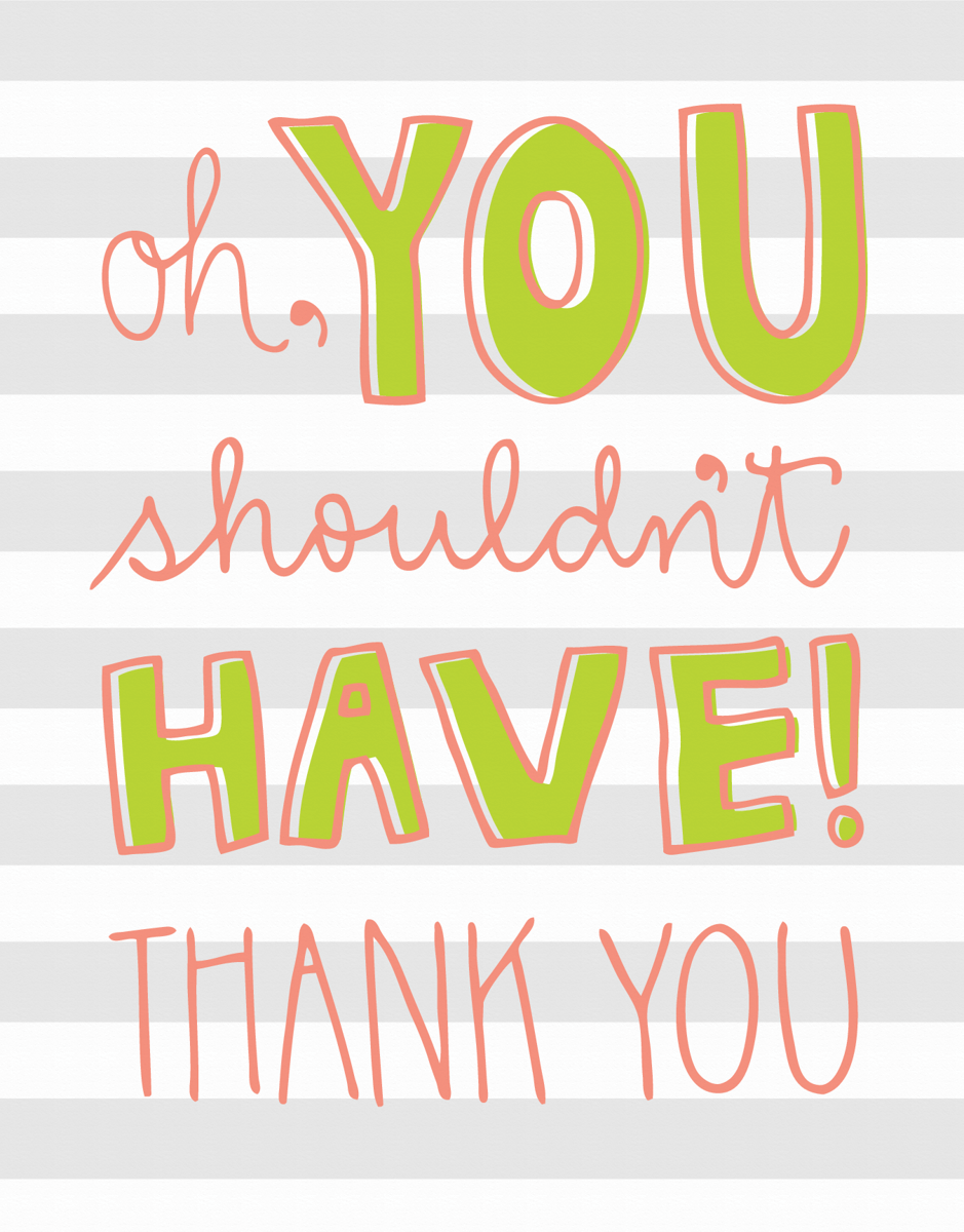Striped Hand Lettered Thank You Card