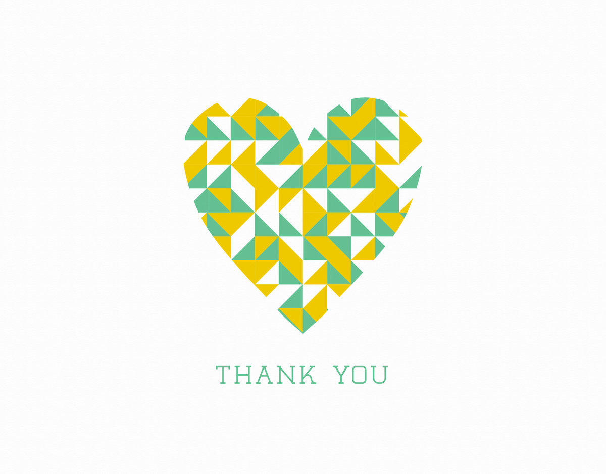 Heart Patterned Thank You Card