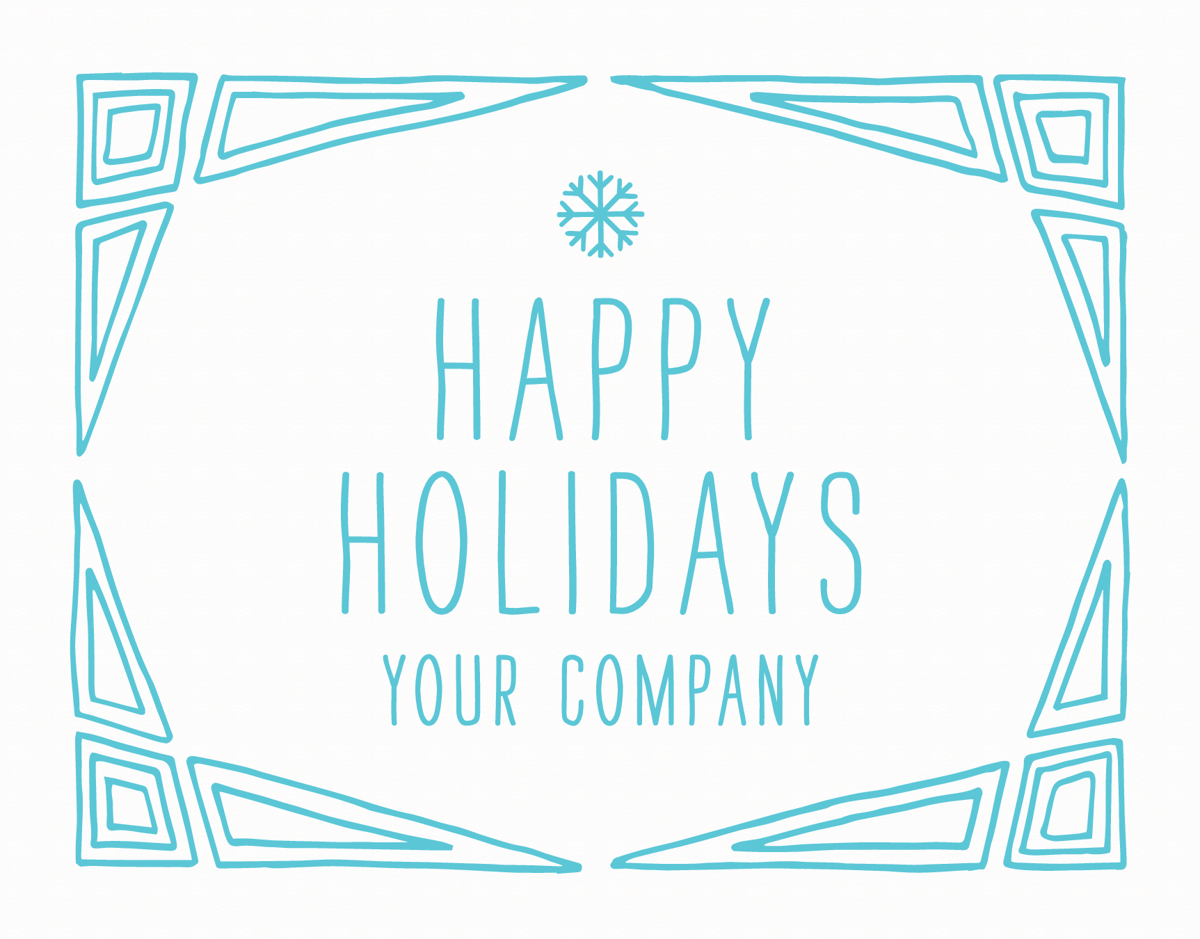 blue and white business holiday card