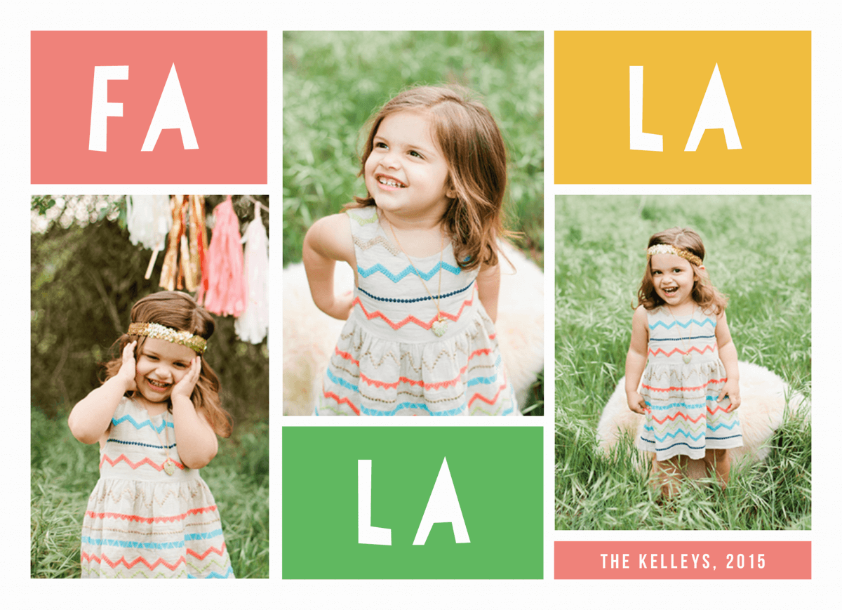 colorful fa la la multi photo holiday card