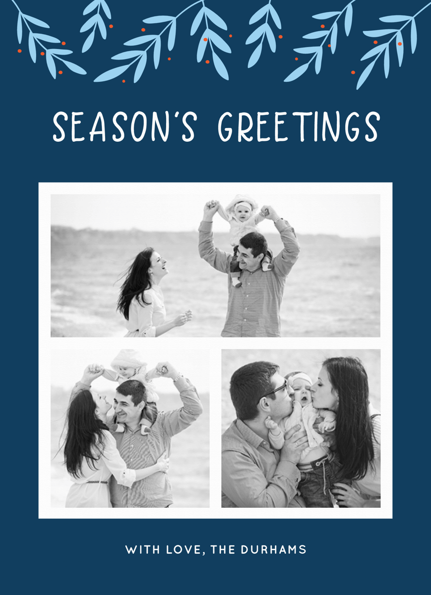 blue seasons greetings photo collage template