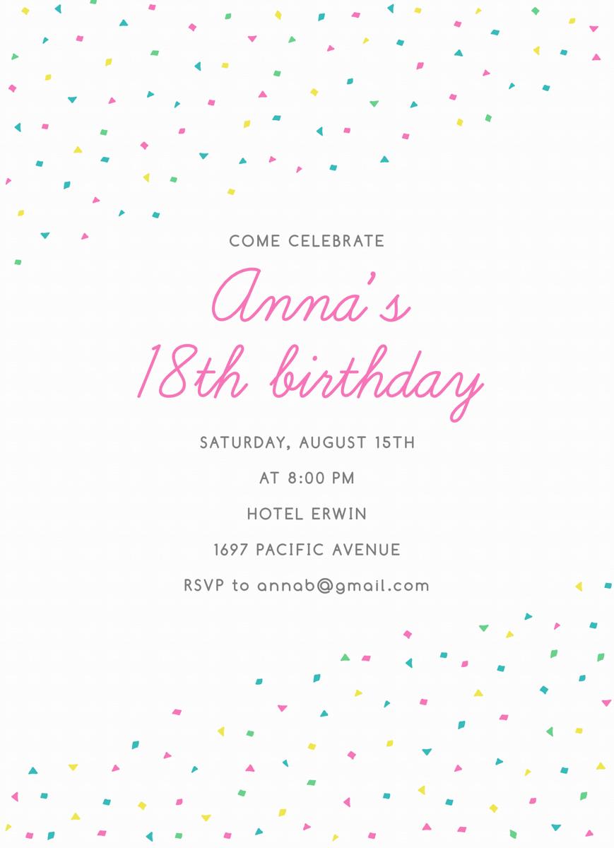 Confetti Birthday Invite