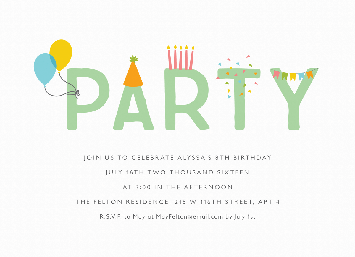 Lettering Party Invite