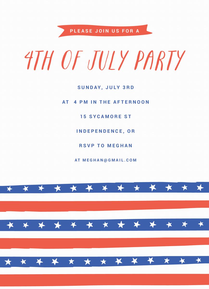 4th of July Stripes Invite