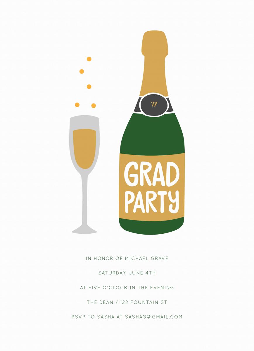 Champagne Grad Invite