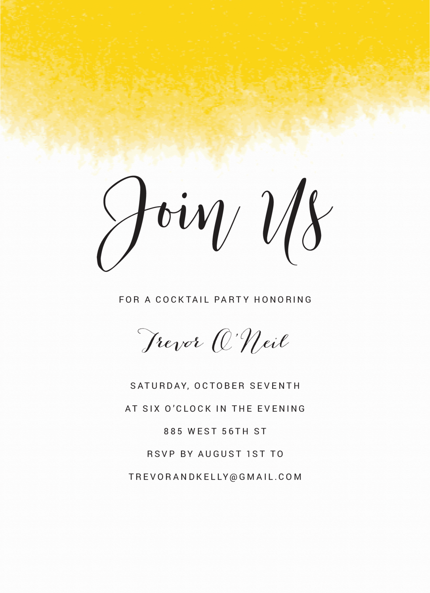 Join Us Yellow Watercolor