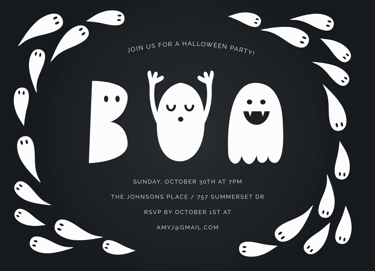 Boo Ghost Halloween Party Invite