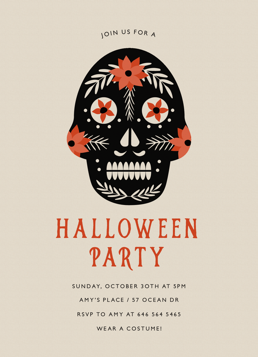 Day Of The Dead Halloween Party Invite