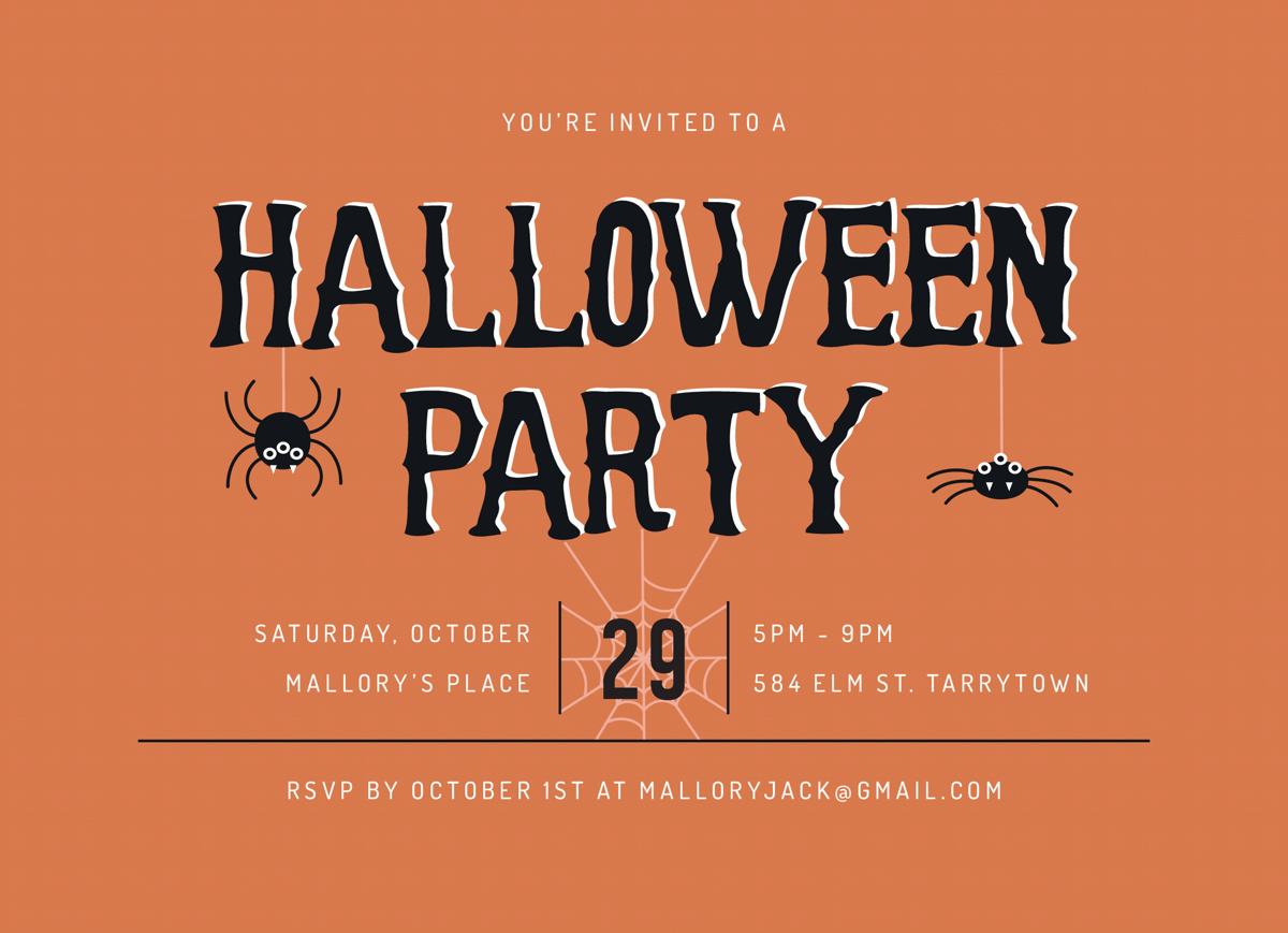 Spider Halloween Party Invite