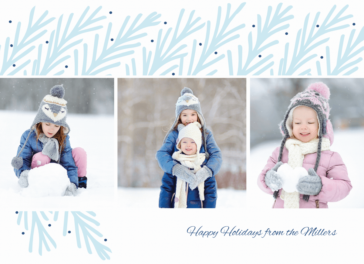 blue branches multi photo holiday template