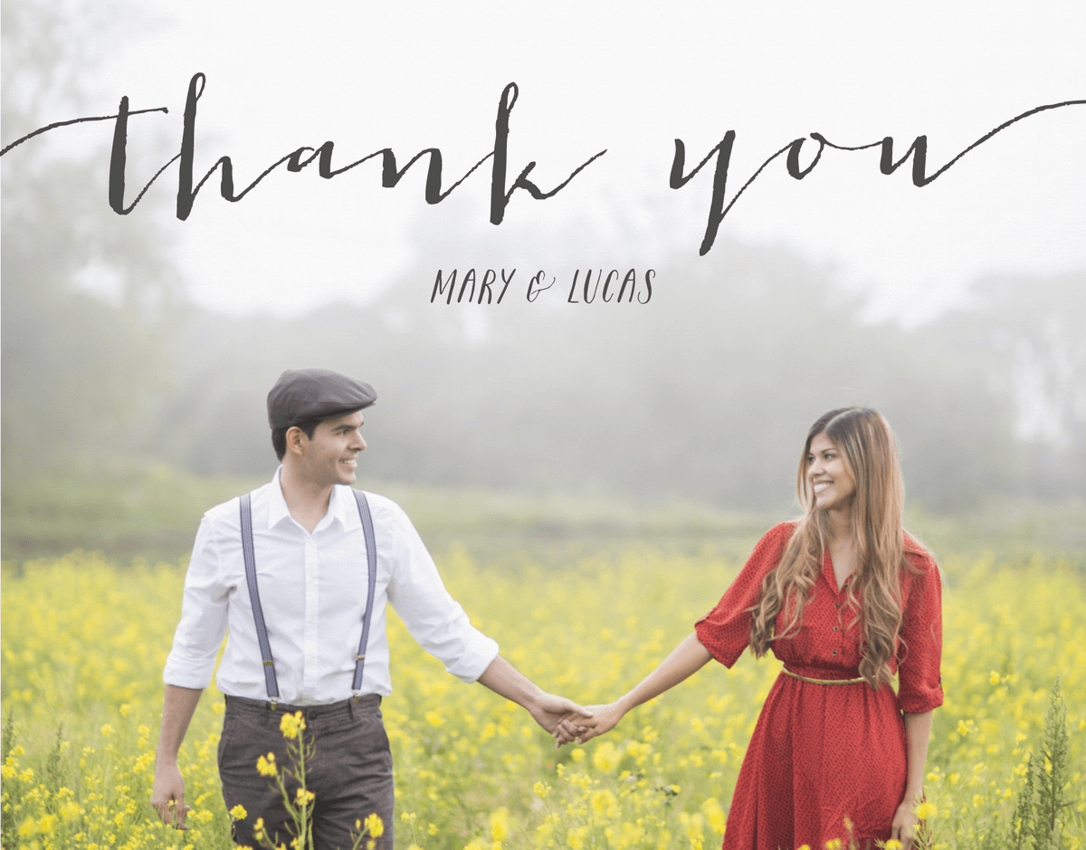 Rustic Black Script Thank You Card