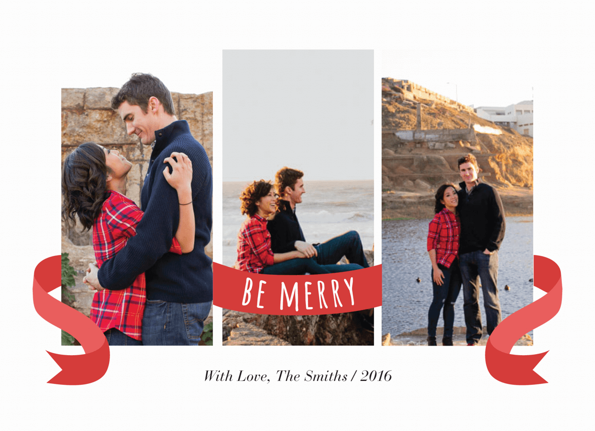 red be merry ribbon photo holiday card