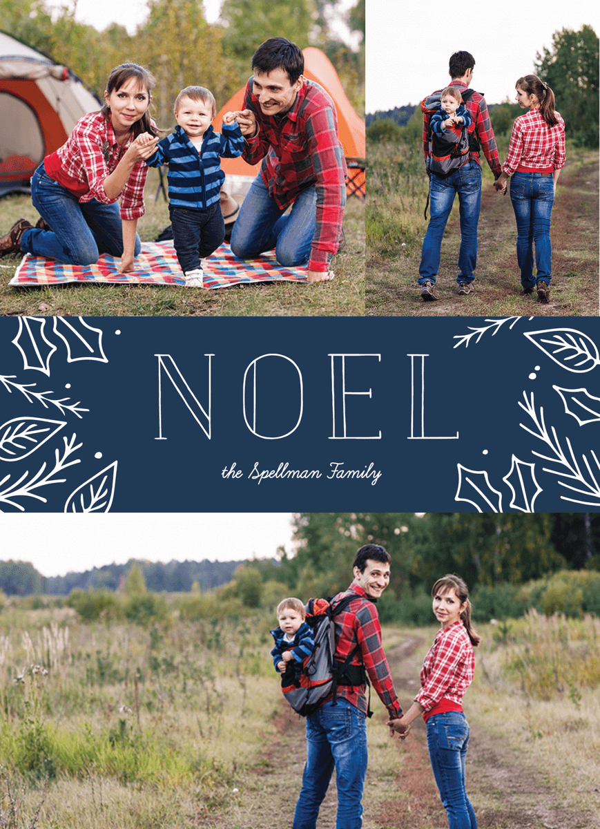 multi photo blue noel holiday template