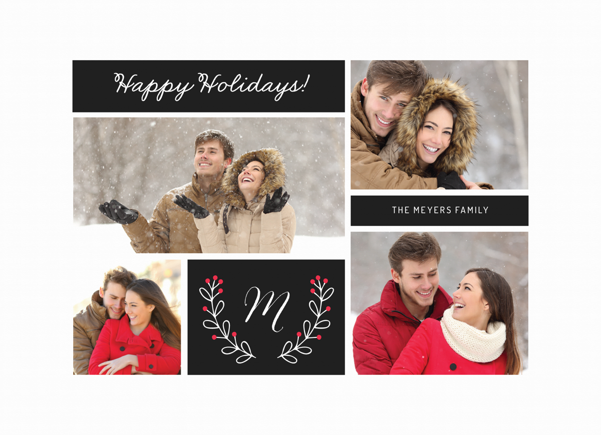 classic photo holiday card with floral branches