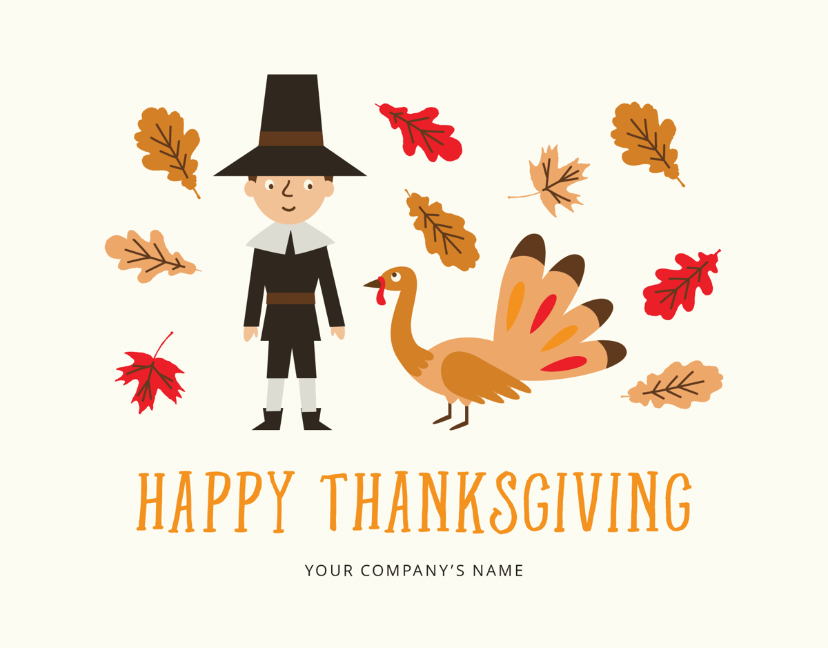 illustrated business thanksgiving card